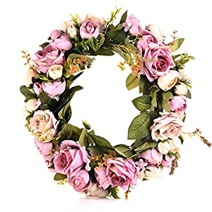 DSstyles Classic Artificial Simulation Flowers Garland for Home Room Garden Lintel Decoration,Roses Peonies Purple Peony 1