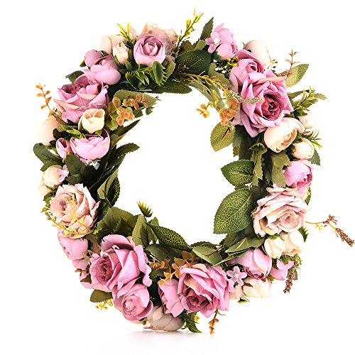 Adeeing Handmade Floral Artificial Simulation Peony Flowers Garland Wreath for Home Party Decor Purple