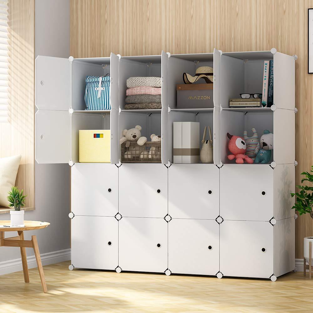 KOUSI Cube Storage Cube Organizer Cube Storage Shelves Cubby Organizing Closet Storage Organizer Cabinet Shelving Bookshelf Toy Organizer (White, 16 Cubes)