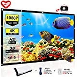 Ylife Projector Screen, 16:9 HD 4K No Crease Portable Video Movie Screen Grommets for Home Theater Outdoor (120 INCH)