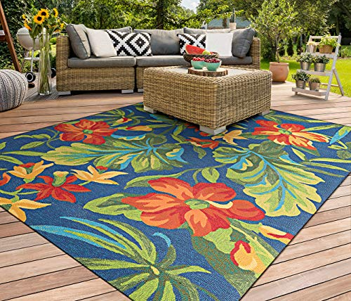 Couristan Covington Tropical Orchid Indoor/Outdoor Area Rug, 5'6