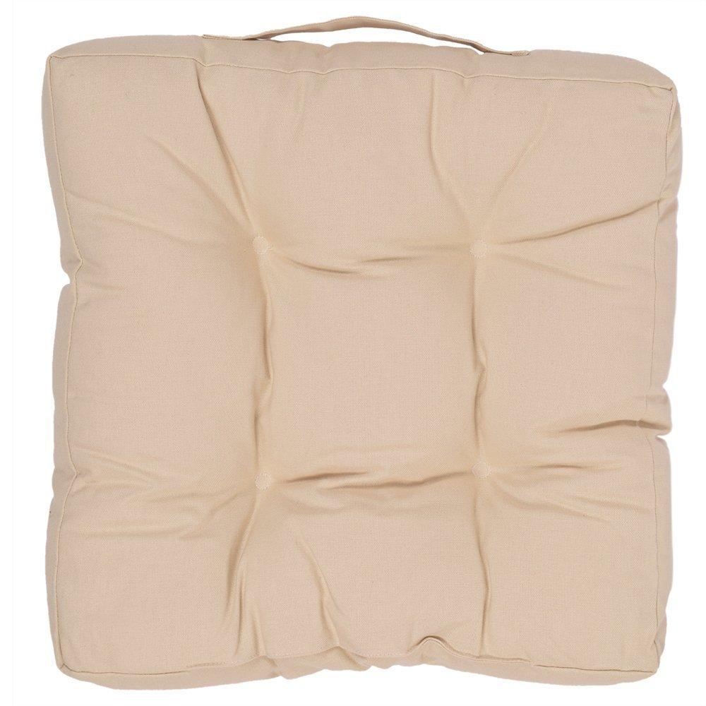 正方形椅子パッドインドアクッションカーシート枕ピュアコットンベージュ色とポリエステルFilling 15 x 15インチ   B01LY1815C
