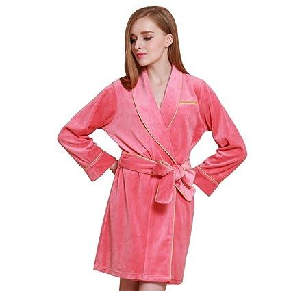 Fei Fei FEI Vestido de Noche de Pijamas de Albornoz de Terciopelo para Mujer (Color