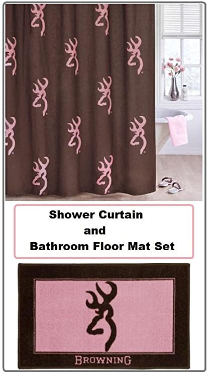 Shower Curtains Pink And Brown.Amazon Com Browning Buckmark Pink Brown Shower Curtain And Floor
