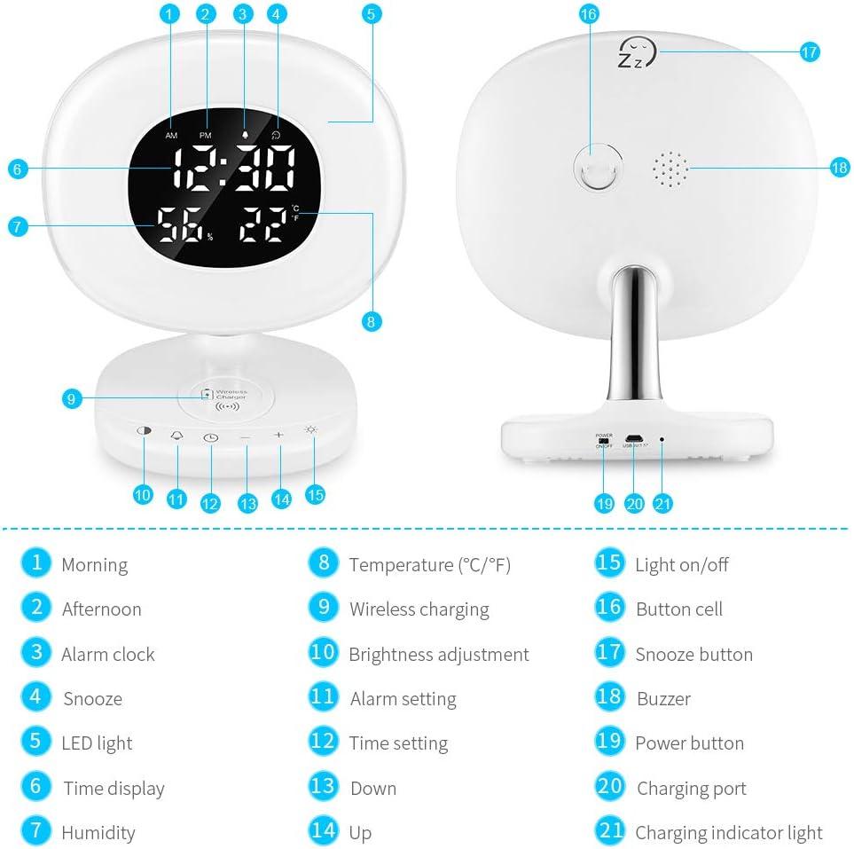Reloj Despertador LED con Luz de Despertador de Amanecer Reloj ...
