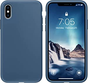 OUXUL Case for iPhone X/iPhone Xs case Liquid Silicone Gel Rubber Phone Case,iPhone X/iPhone Xs 5.8 Inch Full Body Slim Soft Microfiber Lining Protective Case(Denim Blue)