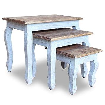 Vidaxl 3x Table Gigogne Bois De Récupération Massif Table Basse