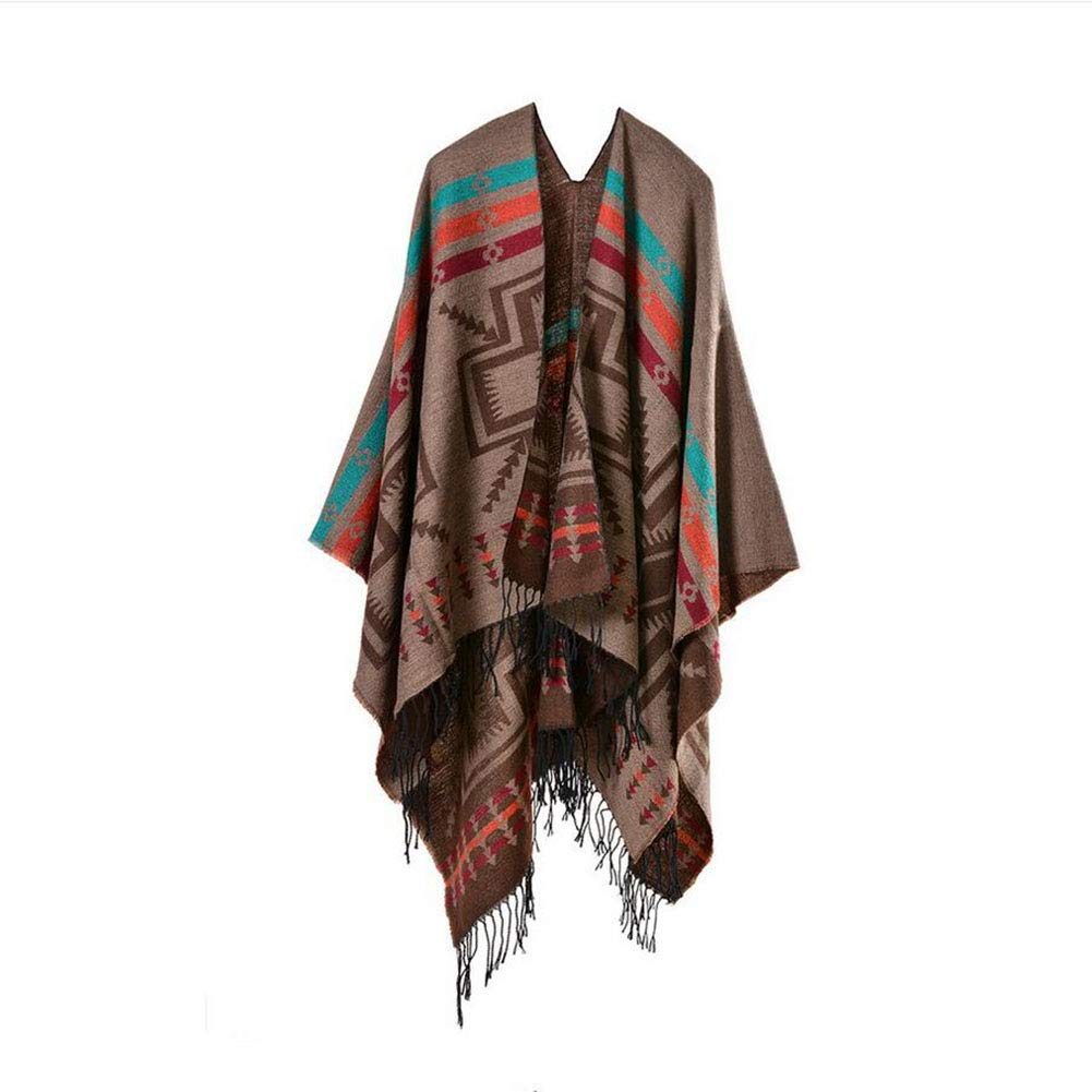 D Women Bohemia Long Cape Geometric Pattern Oversized Knitted Shawl Poncho with Brooch