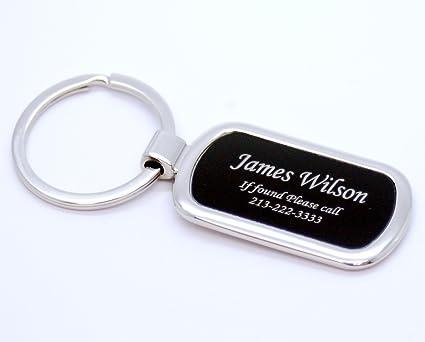 Amazon.com   Personalized Silver   Black Oval Keychain - Free Laser ... 4ad623e4b410