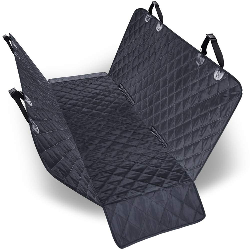 Dog Car Seat Covers, Dog Seat Cover Car Hammock, Nonslip Travel Pet Seat For Car Zipper Design With Extra Side Flaps Adjustable Anchors Rear Backseat Predector, 147 x 137 cm Black