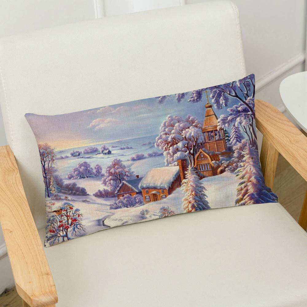 Auied 1 Stück Merry Christmas Christmas Christmas Leinenkissenbezug für Sofa, rechteckig, Dekoration (30 x 50 cm), Leinen, K, 30X50CM B07KRR84DW Zierkissenbezüge 8fffe4