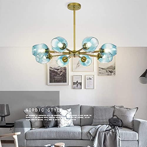 Modern Molecular Chandelier Lights, 8 Lights E26 Nordic Globe Ceiling Light Pendant Chandeliers with Glass Blue Lampshade, Pendant Dining Lighting Fixtures for Living Room