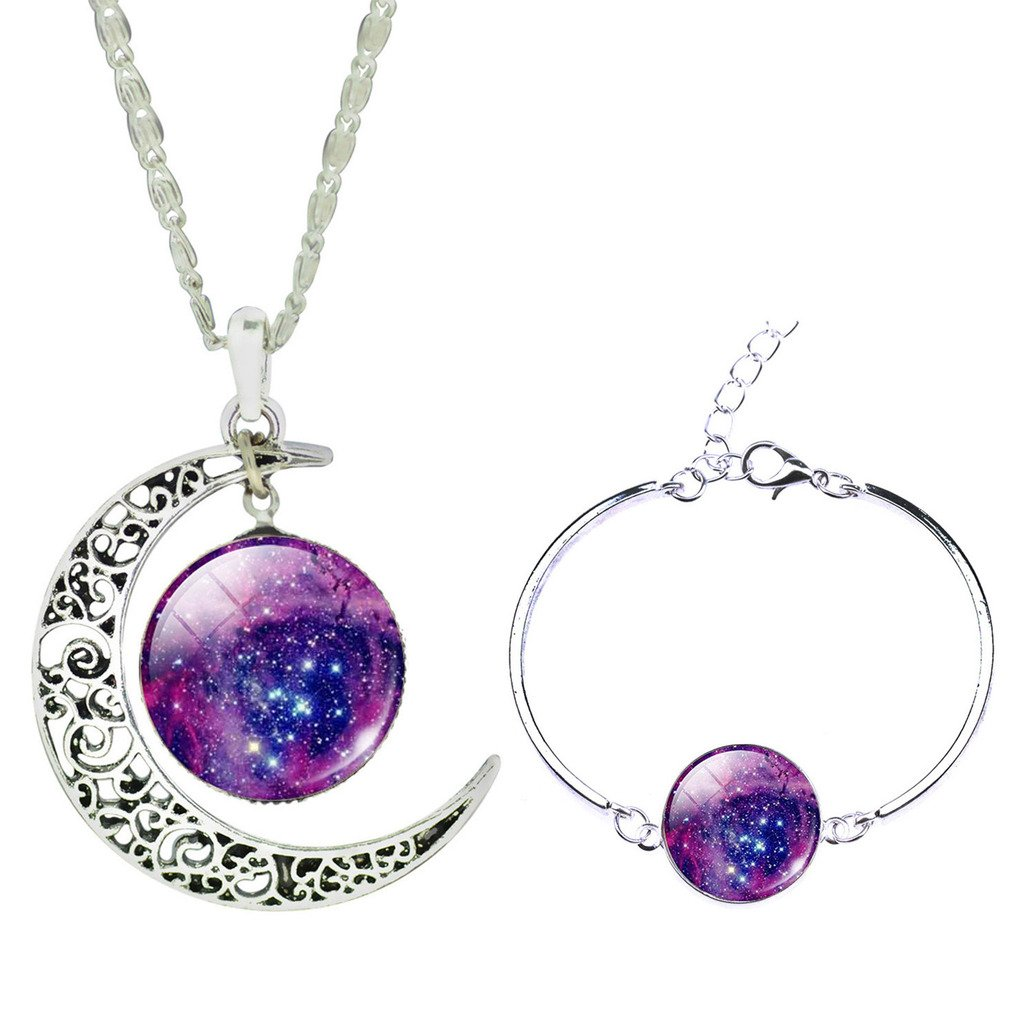 Jiayiqi Mystical Galaxy Universe Time Gem Bracelet New Moon Necklace for Women Jewelry Set SET0130