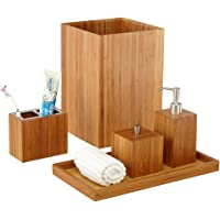 Merveilleux Seville Classics 5 Piece Bamboo Bath And Vanity Luxury Bathroom Essentials Accessory  Set