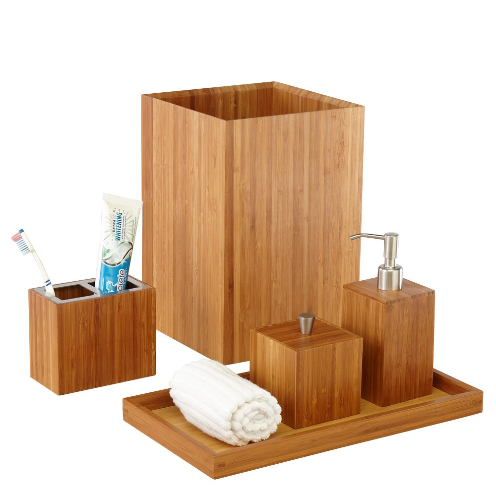 Amazon.com: Seville Classics 5 Piece Bamboo Bath And Vanity Luxury Bathroom  Essentials Accessory Set: Home U0026 Kitchen