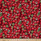 Cotton Fresh Strawberries Farm Fruit Berries Cotton Fabric Print by the Yard 08388-12