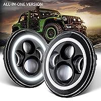 "GoodRun Jeep Wrangler Headlights 7"" LED Halo Angel Eyes Headlight DRL+Amber Turn Signal Dot Approved For 1997-2018 TJ LJ JK JKU JL JLU Unlimited Rubicon Sahara Altitude Car Accessories (JW-HL01)"