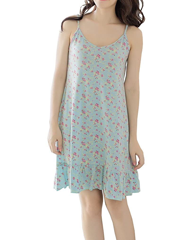 Vopmocld Big Girls Florals Printed Summer Nightgowns Pleated Casual Nightdresses