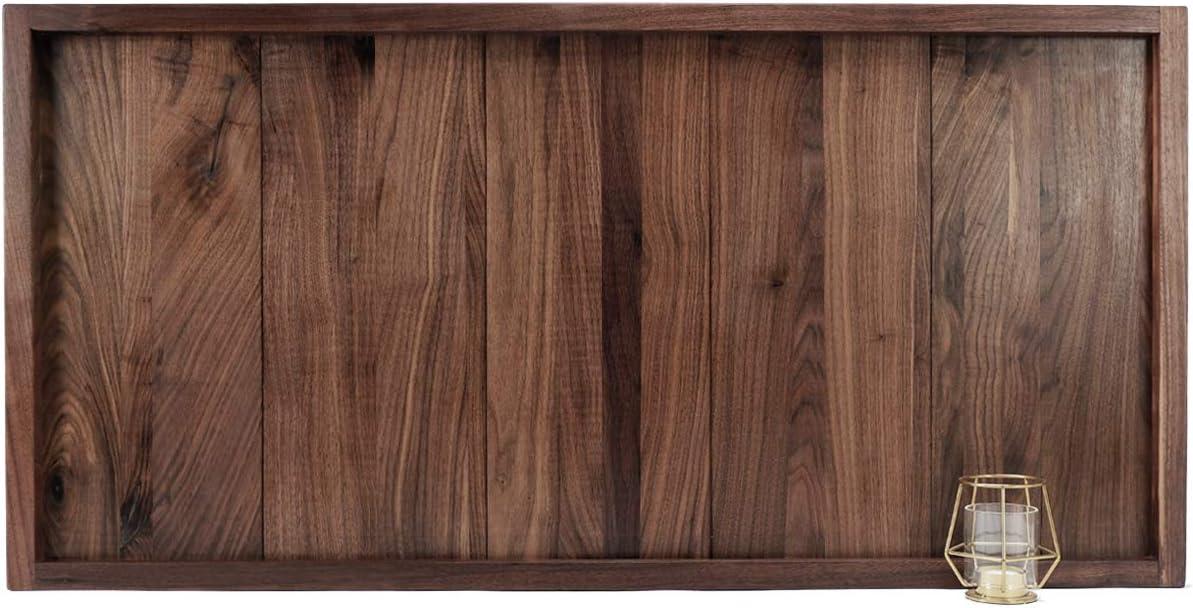 MAGIGO 40 x 20 Inches Extra Large Extra Long Rectangle Black Walnut Wood Ottoman Tray, Serve Tea, Coffee Classic Wooden Decorative Walnut Serving Tray