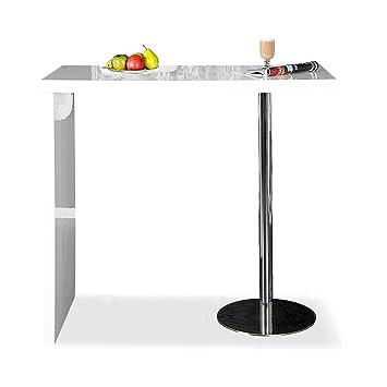 levandeo Bar-Tisch Tresen Küchentisch Weiß Hochglanz Chrom Stehtisch ...