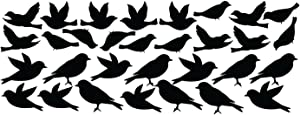 Innovative Stencils Bird Wall Decal Stickers Peel and Stick Decor Flying and Sitting Removable and Reusable Vinyl Wall Art Decor Addon for Large Tree Decals #1387 (Large, Matte Black)