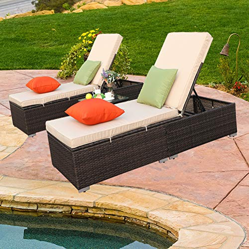 - Do4U 3 Pieces Outdoor Chaise Lounge - Easy to Assemble Chaise Longue - Thick & Comfy Cushion Wicker Lounge Chairs Include 1 Table and 2 Chaise Lounge- Mix Rattan with Light Brown Cushion (7333-MIX)