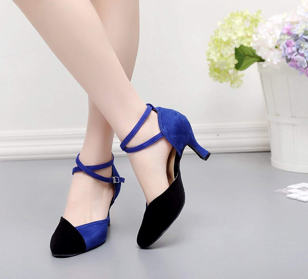 Fuxitoggo TJ7136 Damen Mädchen Knöchelriemen Blau Wildleder Latin Dancing Schuhe Schuhe Schuhe Formale Partei Pumps UK 4.5 (Farbe   -, Größe   -) cd5ec3