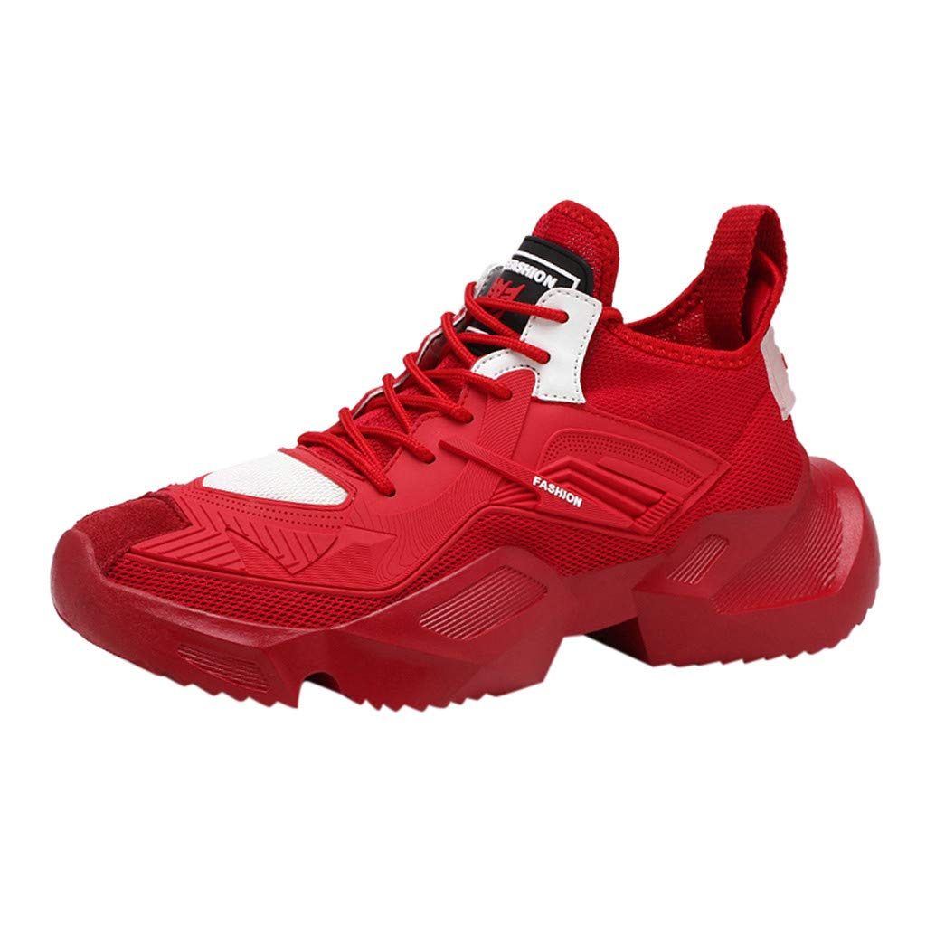 Men Casual Sport Running Shoes - Fashion Wild Unique Shape Breathable Anti-Slip Lace-up Outdoor Athletic Shoes