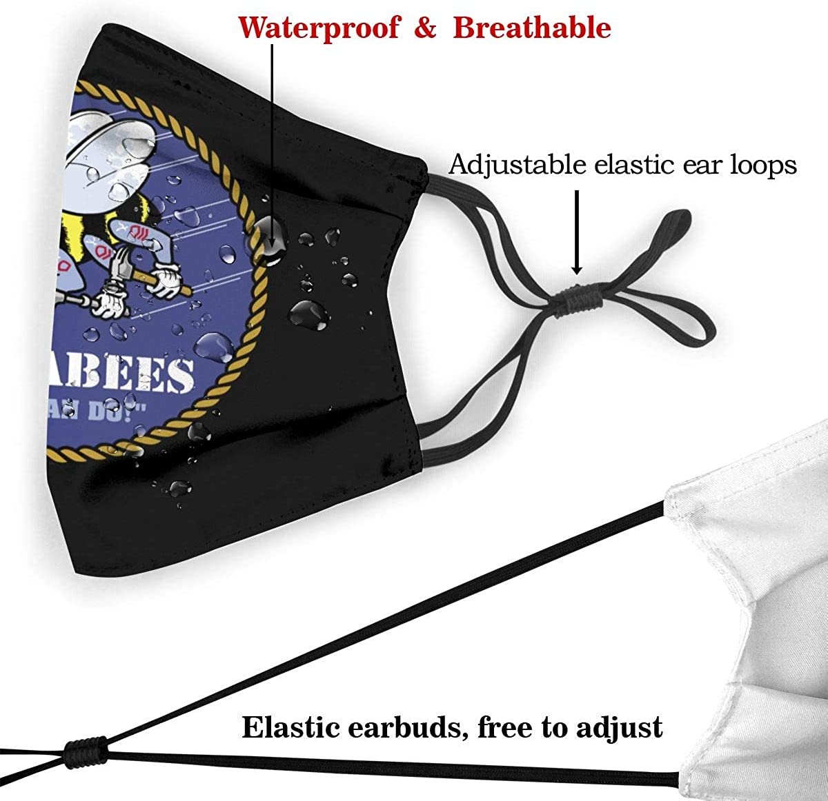 Us Navy Seabees Bandanas for Men Face Scarf Neck Gaiter Pm2.5 with Filters M
