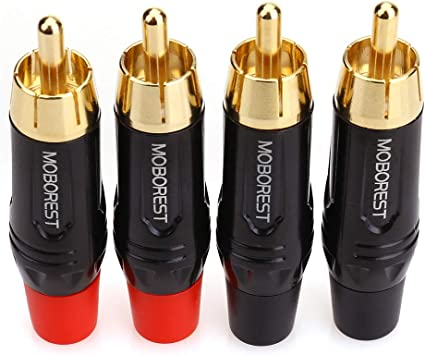4x RCA Male Plug Audio Video Cable Connector Pair 4 Pcs Solder Gold Adapter