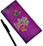 Leather Checkbook cover, Flower Cited Butterflies pattern on both sides, Purple