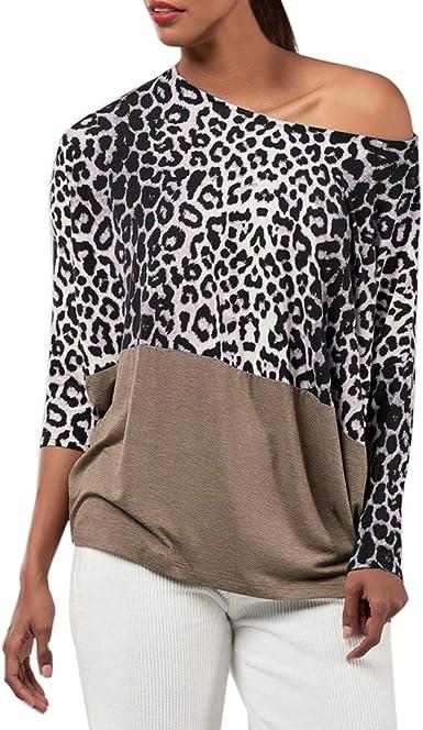 Lenfesh Camisa con Estampado de Leopardo Casual para Mujer, Camisetas Sexy de Hombros Descubiertos Blusa de Manga Larga para Mujer: Amazon.es: Ropa y accesorios