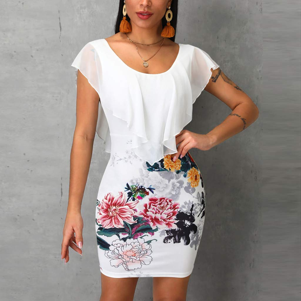 Women Dresses,Floral Print Wrap Dress O-Neck Overlay Sleeveless Ruffles Bodycon Party Mini Dress