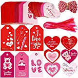 Supla 120 Pcs 12 Style Gift Tag with Hole in Pink Red Fuchsia Heart Cut Outs Favor Tags Treats Tags Hang Tags Hang Label with Organza Ribbons and Bakers Twine for Valentine's Day Wedding Greetings