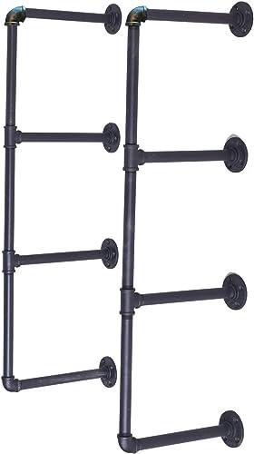 LOKKHAN 4-Tier DIY Industrial Pipe Shelf Kit Hanging Bookshelf for Wall Open Pipe Shelving Black 4 Tiers