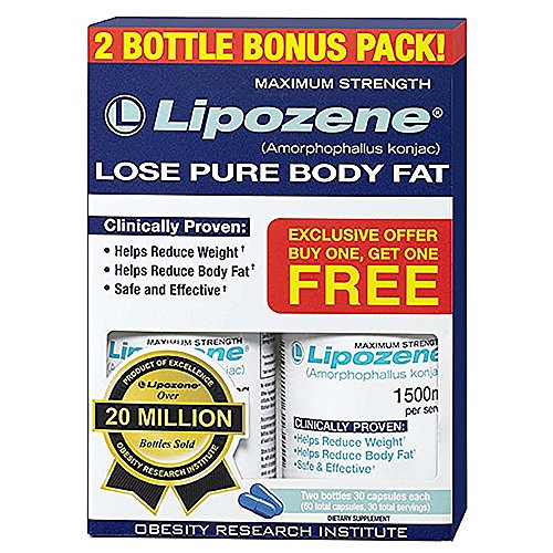 Lipozene Weight Loss Supplement Diet Pills Appetite Suppressant and Control Two Bottles 60 Capsules Total