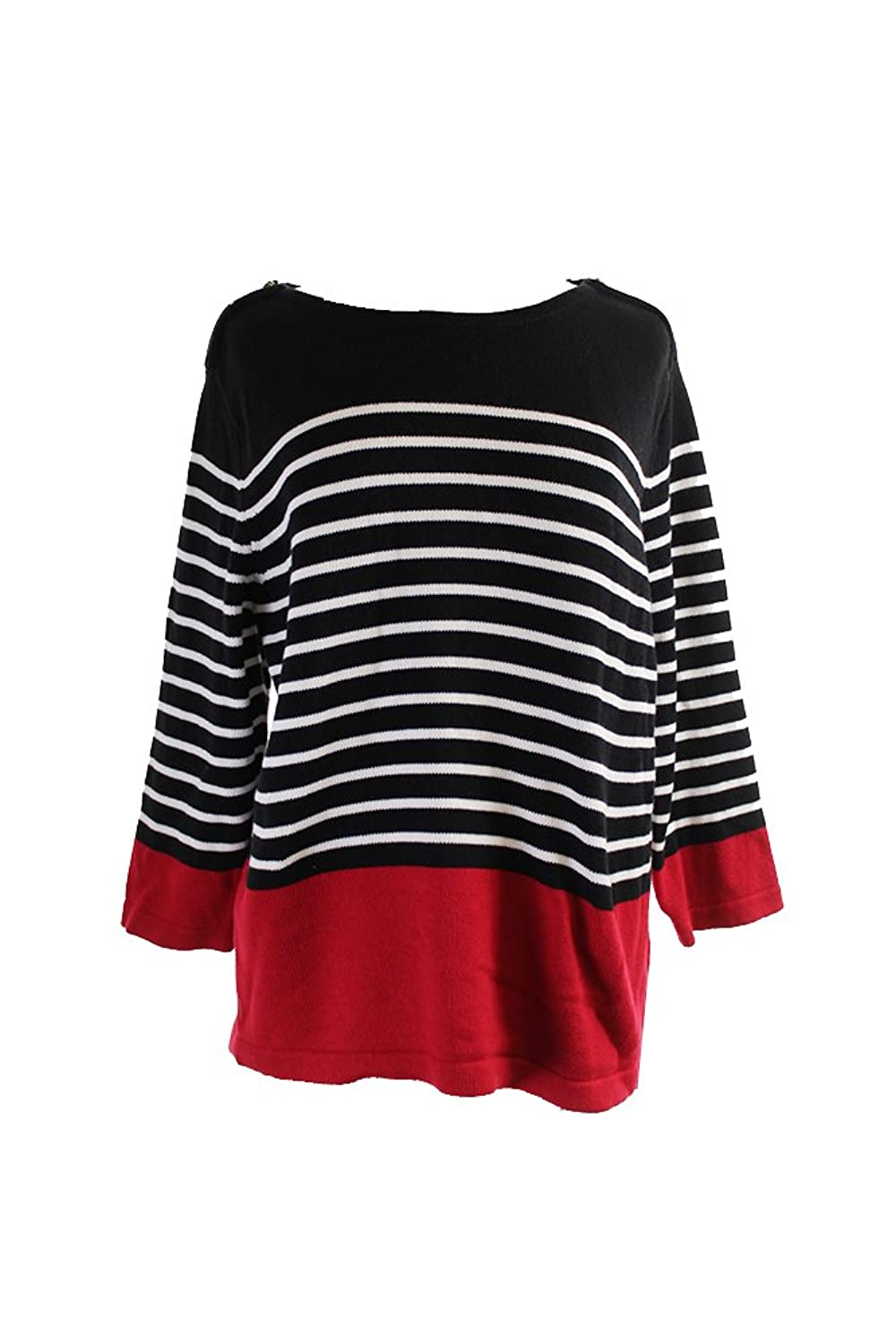 Karen Scott Black Red Striped Zip-Shoulder Sweater Xl