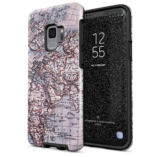 Glitbit Compatible with Samsung Galaxy S9 Case Map of The World Explore Globe Travel Wanderlust Road Trip Lets Go Heavy Duty Shockproof Dual Layer Hard Shell + Silicone Protective Cover