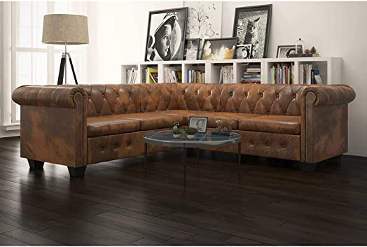 INLIFE Chesterfield Corner Sofa,L Shape 5-Seater Sectional Sofa