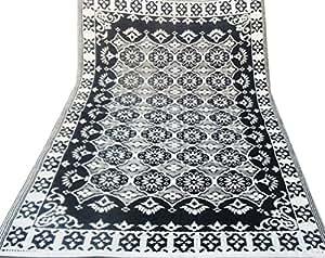 Alfombra del suelo indio patrón floral negro blanco playa manta trapo polipropileno material plástico estaño de picnic interior regalo artículo