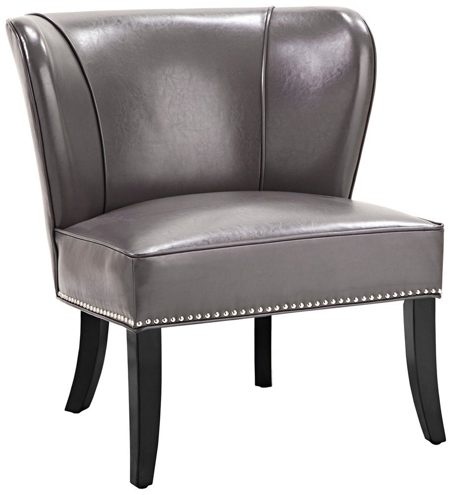 amazoncom madison park hilton wingback faux leather accent chair  - amazoncom madison park hilton wingback faux leather accent chair graykitchen  dining