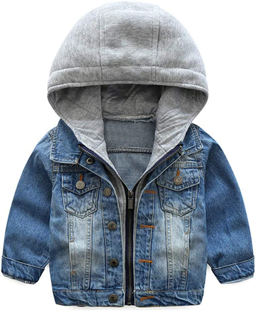 Boys Basic Denim Jacket Kids Trucker Jacket Stylish Fashion Cotton Hooded Trendy Coat Zipper Outwear 2-8 Years