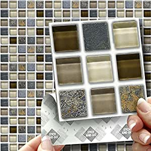GLASS STONE MOSAIC: Box of 18 tiles 4x4 SOLID PEEL & STICK ON TILES apply over tiles or onto the wall !