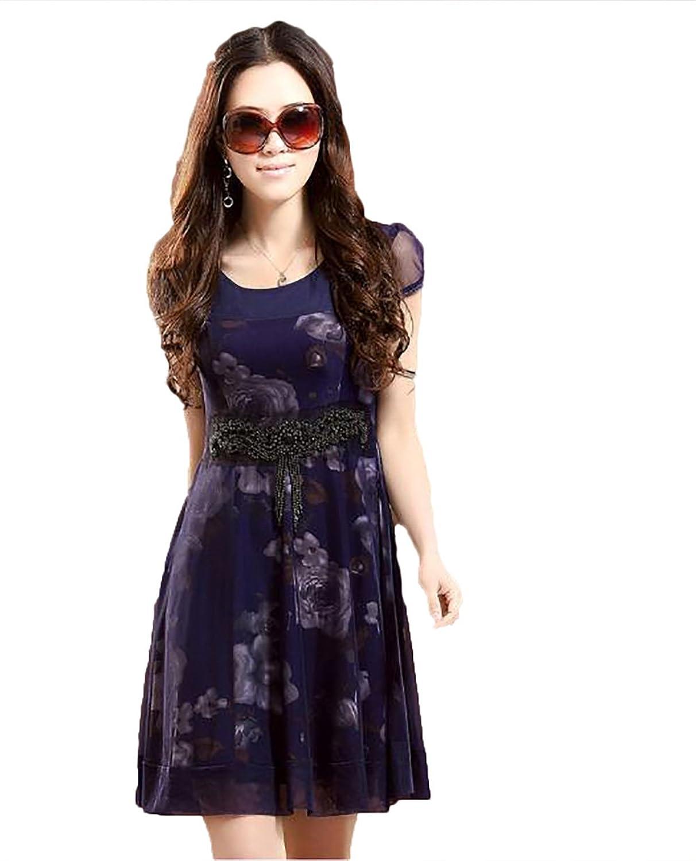 Autumn Summer Short Sleeve Women Dress Maxi Color Blue) Color Black) Flower A-Line Dresses