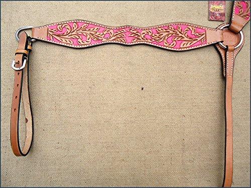 HILASON Western American Leather Horse Headstall Breast Collar Tan Pink