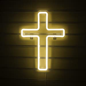 Jesus Cross Neon Signs Led Neon Wall Lights Art Lamp Neon Sign Hanging for Bedroom Kids Room Wall Decor Christmas New Year Wedding Birthday Party Signs(Warm White)