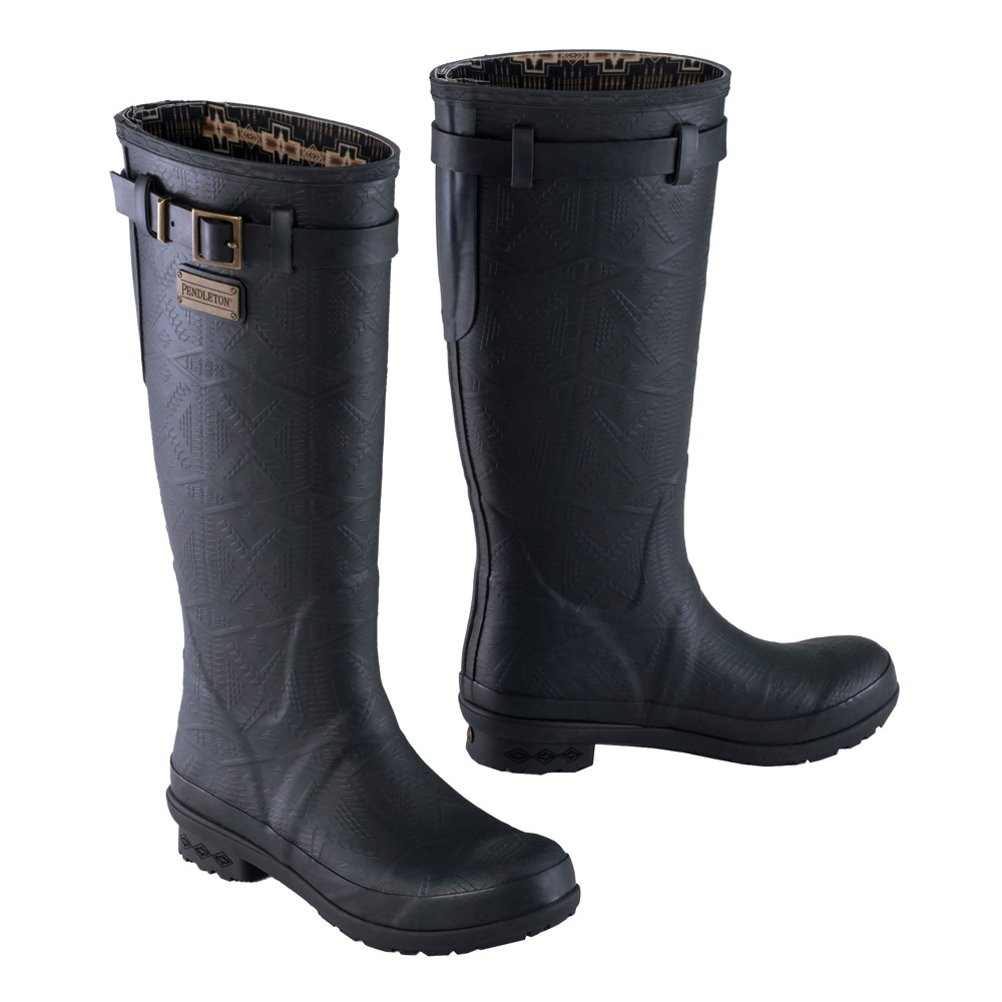Womens Heritage Embossed Tall Rain Boots- By Pendleton B076TBG29Y 7|Black