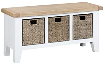 Groovy The Furniture Outlet Suffolk White Painted Oak Large Hall Bench Beutiful Home Inspiration Xortanetmahrainfo