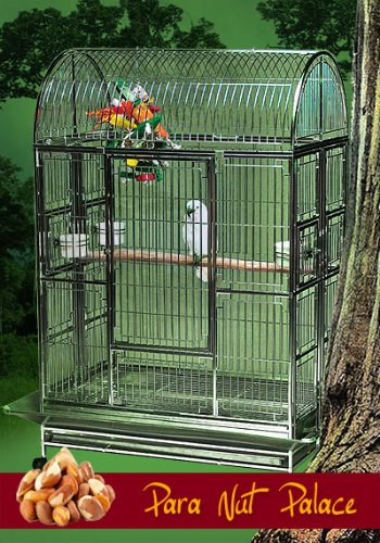 Para Nut Palace Stainless Steel Extra Large Bird Cage - Perfect for Large Parrots, Macaws, Cockatoos, Large Birds/Parrots - 42''W x 28''D x 66''H - Cage with 2 Exterior Feeders by BirdCages4Less
