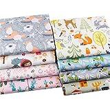 "8Pcs Animals Fat Quarters Fabric Bundles,Precut Quilt Quilting Fabric for Sewing Crafting,18"" x 22"" (Mulit F)"
